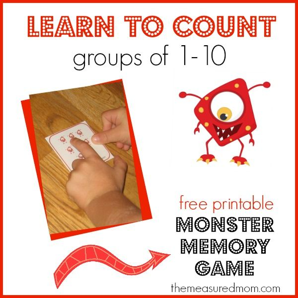 learn to count groups of 1 10 free monster memory game - Halloween Games For Groups