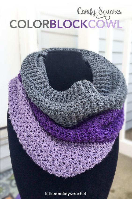 Comfy Squares Color Block Cowl   Free Crochet Pattern from Little Monkeys Crochet: