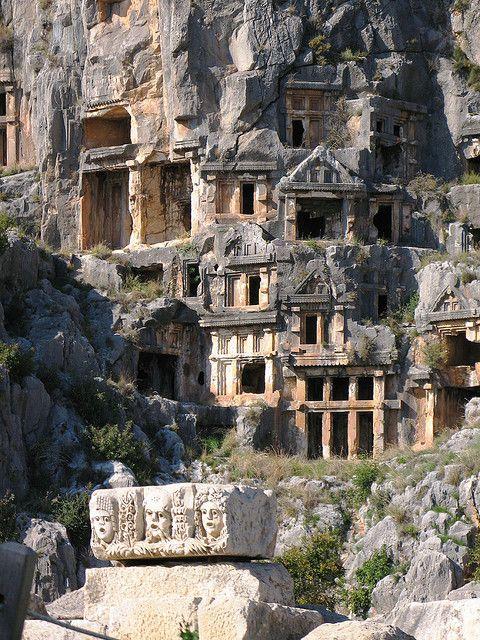 The lycian rock-cut tombs of Myra, Turkey