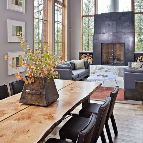 I really like this. Looks comfy and cozy. I think it's the large fireplace and all the wood.