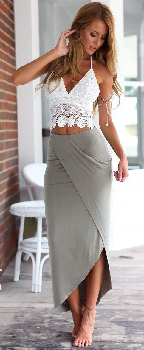 #spring #outfits  White Crochet Top & Grey Bandage Skirt