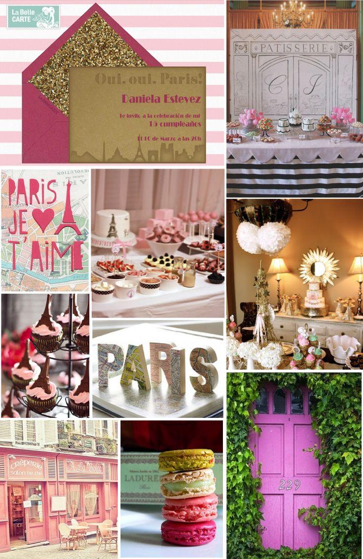 Invitaciones para 15 a os e ideas para fiesta rosa en for Decoracion xv anos paris