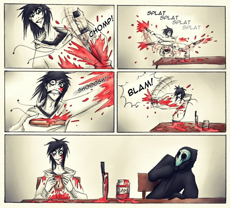 """Eyeless Jack just looks like he's going like """"what the fuck Jeff. Sweet mother of Jesus. That escalated quite quickly. Ah."""""""