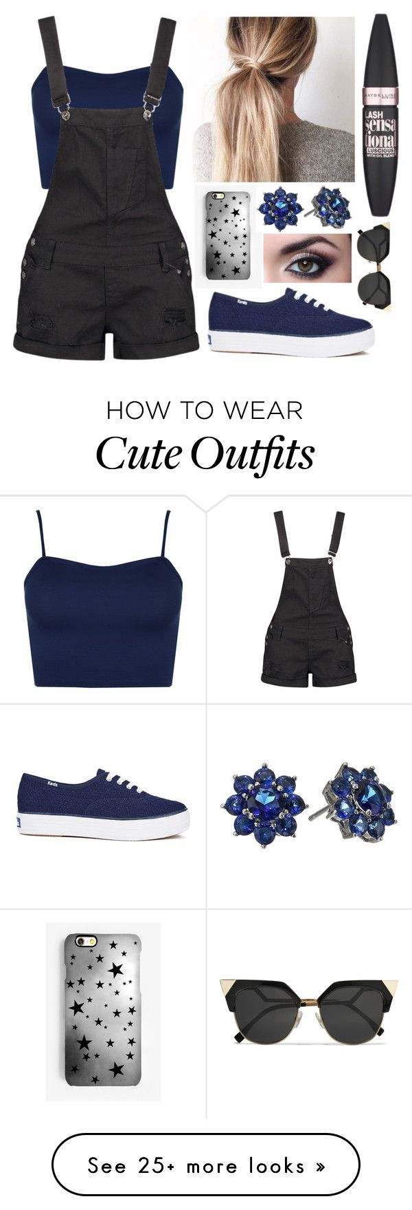 """""""New Outfits #81"""" by pbamberry on Polyvore featuring WearAll, Boohoo, Keds, Rianna Phillips, Nina, Maybelline and Fendi"""
