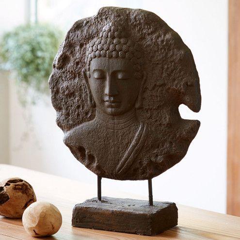 Standing buddha medallion sculpture