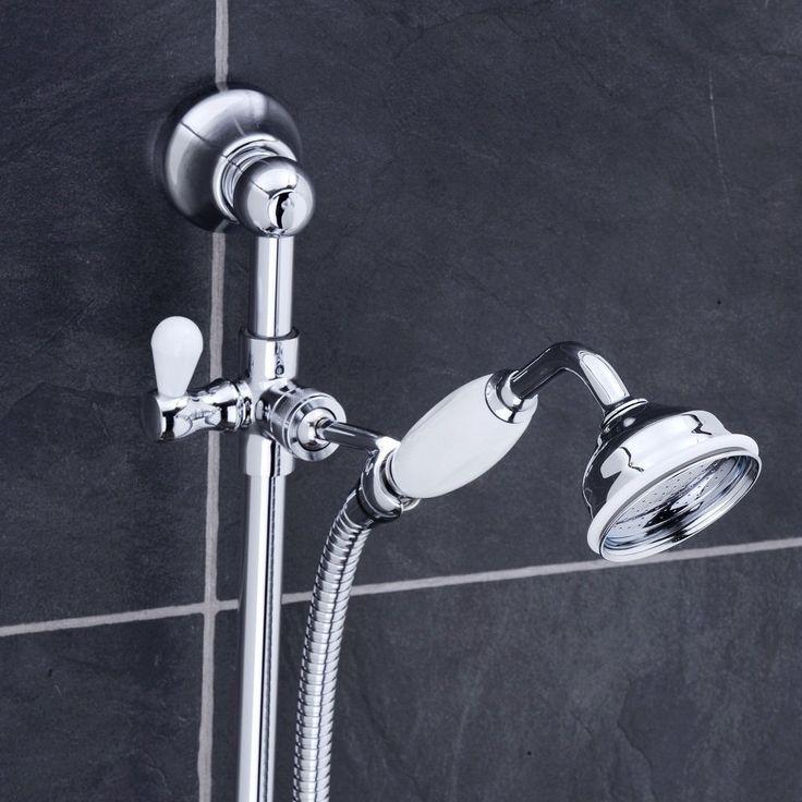 Lancaster Traditional Bath Shower Mixer with Slider Rail Kit - Chrome Profile Large Image