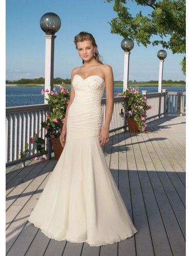 Chiffon Strapless Sweetheart Corset Mermaid Wedding Dress