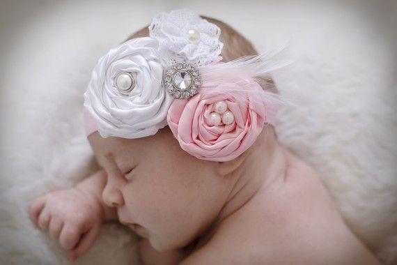 Baby  headbandNewborn hair bowThe Ella GraceVintage by Ellasbows, $15.00