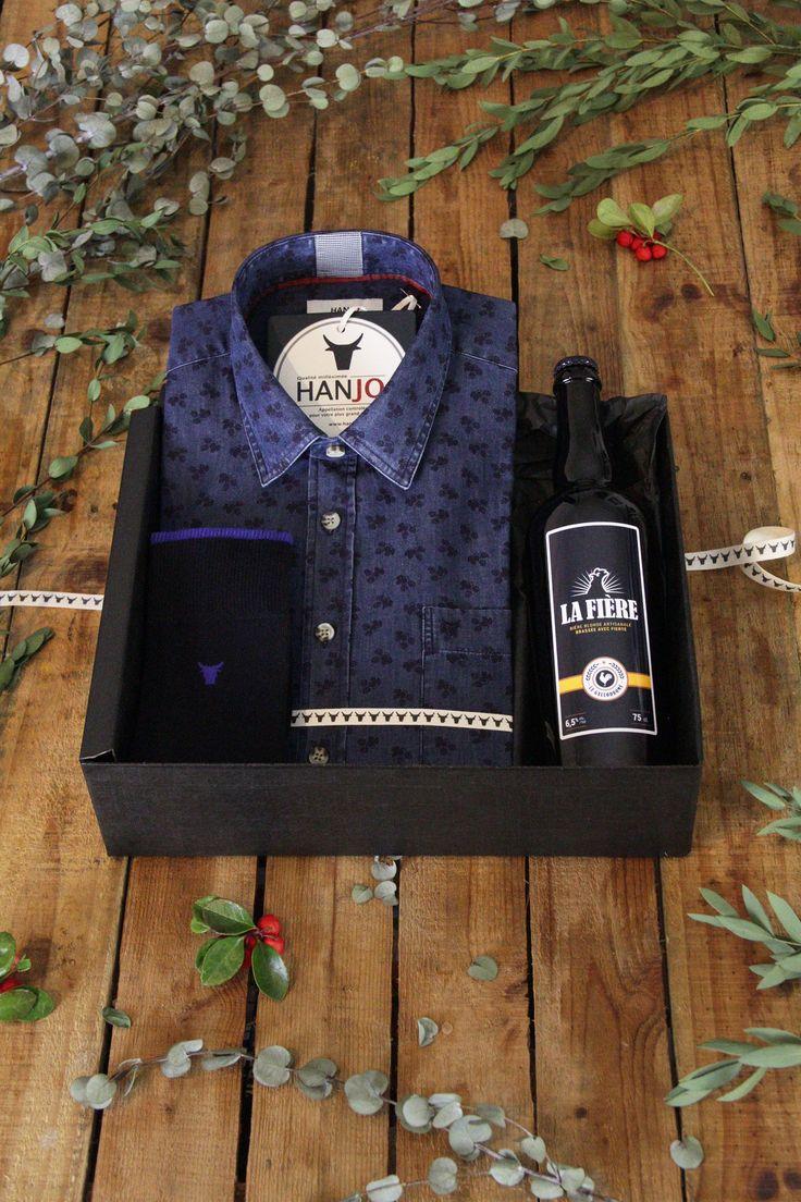 Chemise Mode Homme Motif Bière Fleurs de Houblon Bleu Marine - Idee cadeau de noel pour homme 2017 vin, restaurant, gastronomie, gourmand, style : chemise à fleurs