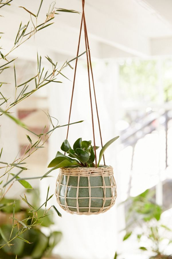 Basket Wrapped Ceramic Hanging Planter With Images Hanging