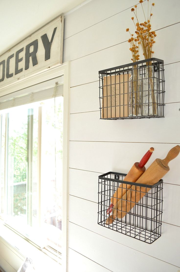 Farmhouse Kitchen Decor Grocery Sign and Hanging Baskets
