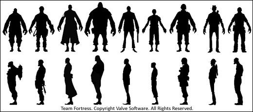 This image shows the silhouette designs of the characters from Team Fortress 2.