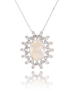 colar nossa senhora com zirconias cristais e banho de rodio semi joias religiosas online