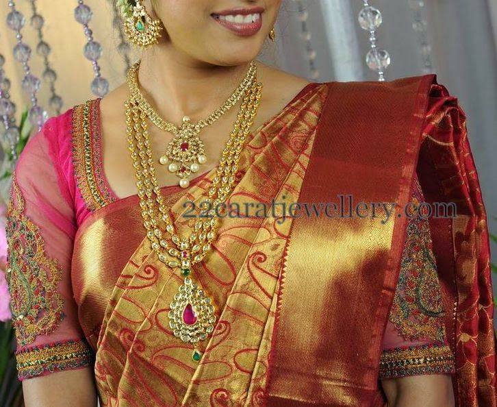 Bride in Simple Layered Polki Haram | Jewellery Designs