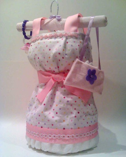 Dress Diaper Cake Cakes New Baby Girl Gifts Baby Shower Gift Ideas  _commercial