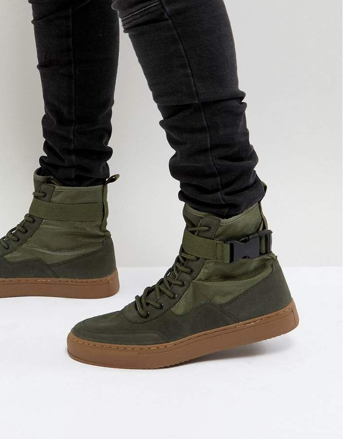 ASOS High Top Sneaker Boots In Khaki With Gum Sole: Sneakers