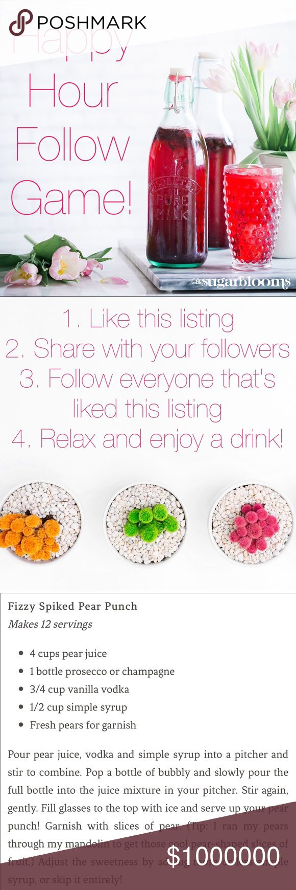 Happy Hour Follow Game & Yummy drink recipes! Hello and welcome! My name is Natascia and this is my first ever follow game! I have seen so much success in joining other Follow games so I thought it was time to pass that along. I've also added some delicious recipes for summer cocktails and a yummy mocktail... enjoy! Please follow me and share this listing 💕💕💕 Other