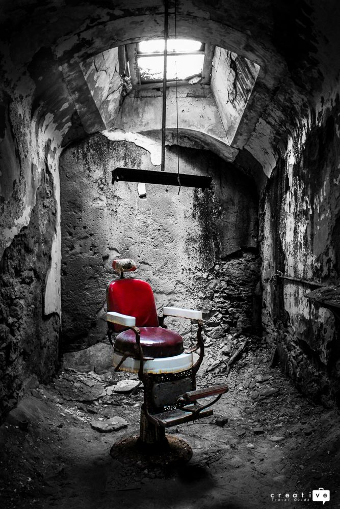 The remains of the barber shop at the Abandoned Eastern State Penitentiary in Philadelphia, USA.