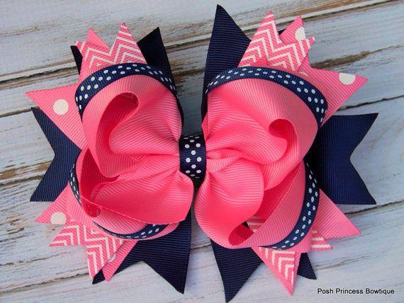 Girls hair bows Navy blue Pink Hair bows Stacked by PoshBoutiqueGa