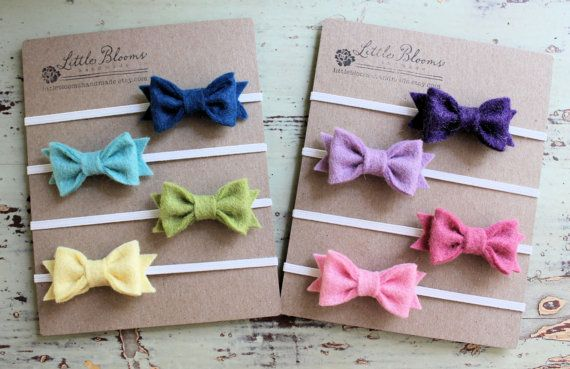 Tiny Felt Bow Headbands - 2 Felt Bows - Pick Your Colors - newborn - baby - toddler on Etsy, $11.00