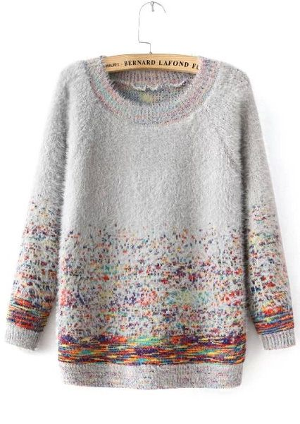 Grey Round Neck Mohair Sweater with Colorful Dots 25.00