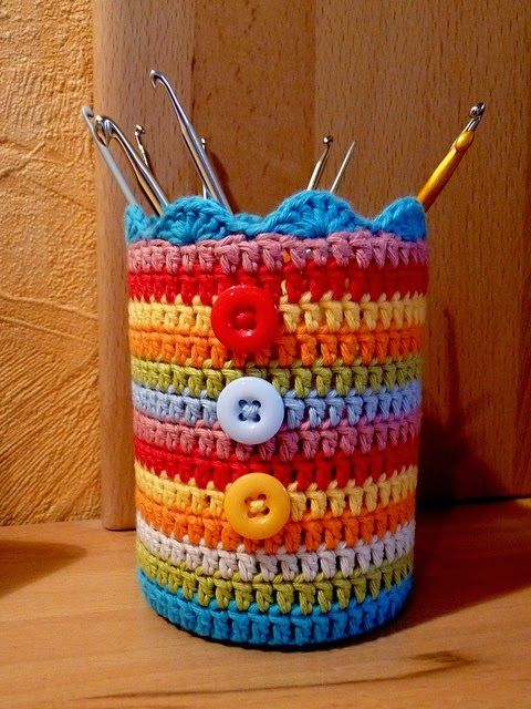 La Magia del Crochet: IDEAS PARA RECICLAR TARROS O ENVASES DE VIDRIO Y FORRARLOS…