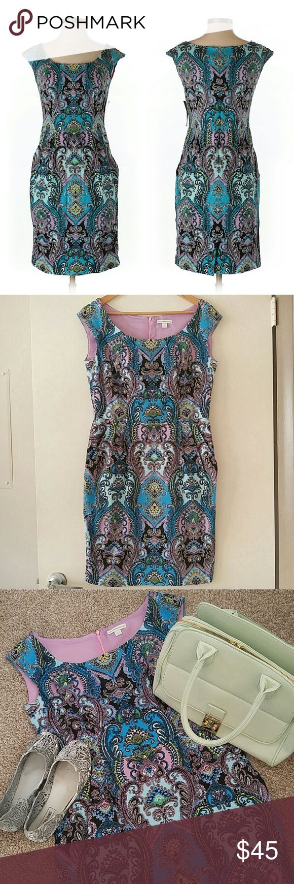 """NWOT New York & Company Paisley Sheath Dress STUNNING! I'm so sad I never wore this dress! Hidden back zipper. Boat neckline w/wide straps. Flattering tailoring. Darted bust. Subtle pleats below waist. Seamed empire waist. POCKETS! Pencil skirt has a small back slit. Bust is lined to the waist. Comfortable stretch.   {Materials} 97% Cotton 3% Spandex   {Measurements} Bust: 18"""" Waist: 16"""" Hips: 19"""" Length: 37""""  **Handbag listed for sale in another listing* New York & Company Dresses Midi"""