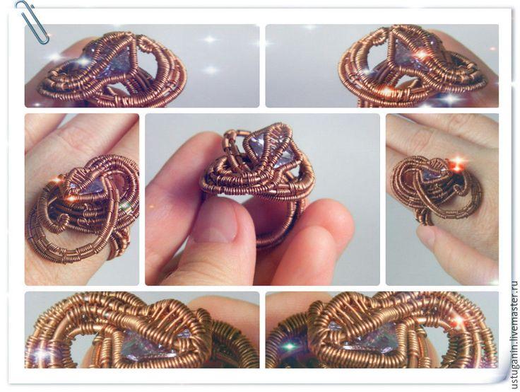 """Купить Кольцо """"Змейка"""" - сиреневый, циркон, камень, кольцо, кольца с камнями, кольца ручной работы"""