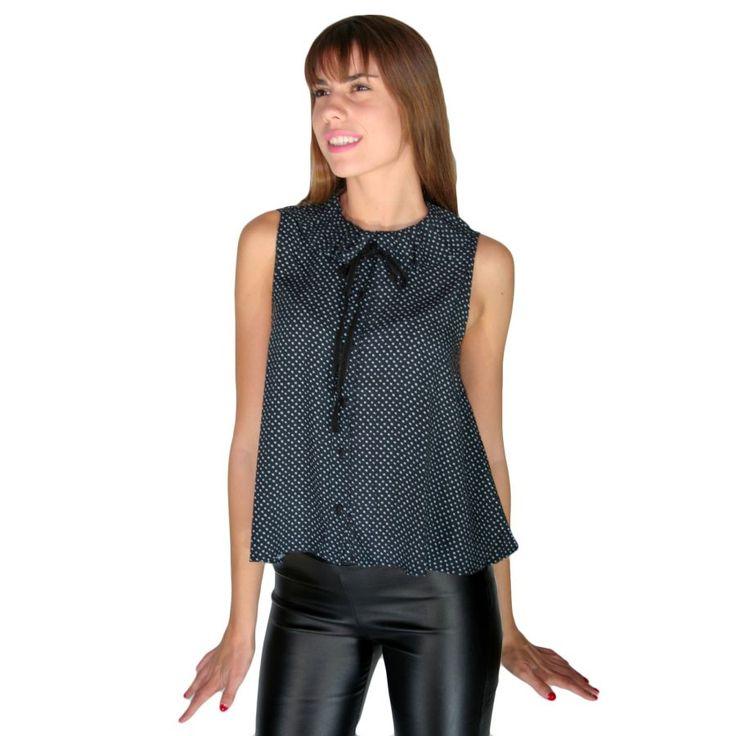 ATTRATTIVO Γυναικείο αμάνικο πουά πουκάμισο, δέσιμο με φιόγκο