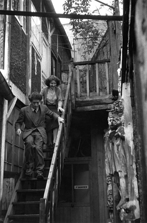 Annette and Alberto Giacometti, Paris, c. 1946 --- Photographed by Henri Cartier-Bresson.