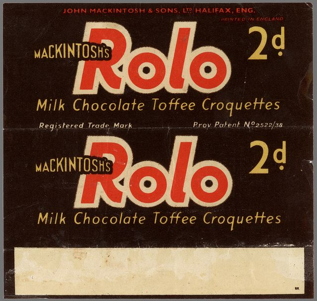 UK - Mackintosh's - Rolo - 2d chocolate candy wrapper - provisional patent - 1937 1938 by JasonLiebig, via Flickr