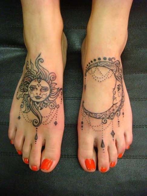 foot tattoos for women | Sun and Moon Foot Tattoos - Tattoo Shortlist