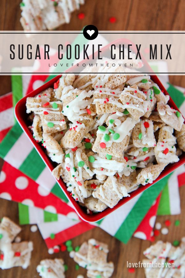 Sugar Cookie Chex Mix For The Holidays. This stuff is amazing, I could not stop snacking on it!  Thinking it would be delicious on top of cupcakes as well!