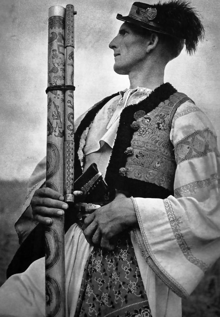 Youngster from Detva region, with fujara (originated in central Slovakia as a large sophisticated folk shepherd's overtone fipple flute of unique design)
