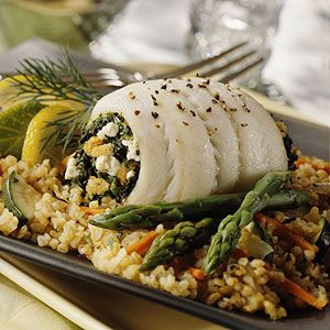 Another great fish idea -- Spinach-Stuffed Sole, have fun combining your favorite fish and stuffing!