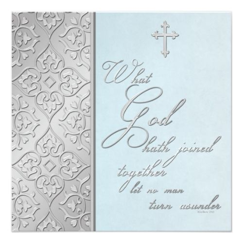 Christian Wedding Invitations Silver and Blue Scrolled Wedding Invitation