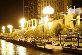 the flame torches outside the crown casino Melbourne cbd