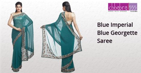 Blue Imperial ‪Blue Georgette Saree‬ in @ $138.95 AUD from collections of over 4000 unique products - design, colour and fabric scheme of Chhabra555‬ in ‪Australia‬.