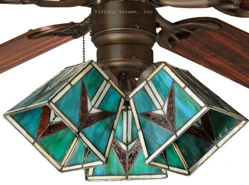 Tiffany Street 259540002 Southwestern Stained Glass Ceiling Fan Shade (QTY One Shade)