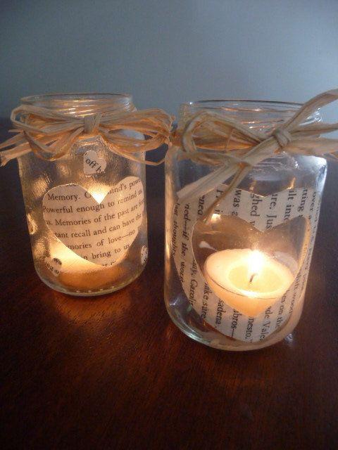 Glass Jar of Hearts Tea Light holder Set by mishmashartsncrafts, $6.00