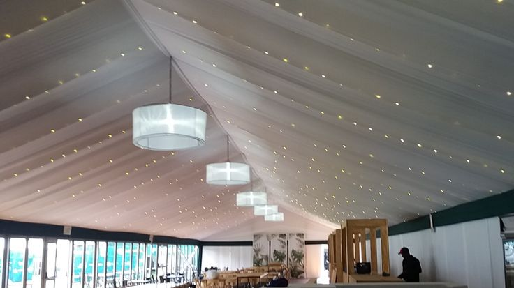 Marquee draping with fairy lights in the ceiling for Chattels Infrastructure Solutions at Two Oceans Marathon. www.eventsdraping.co.za