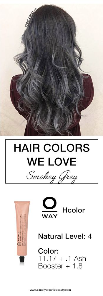 This Smokey Grey Hair Color with Oway Hcolor is just the right amount of dark roots and silver strands! #Oway #Hcolor