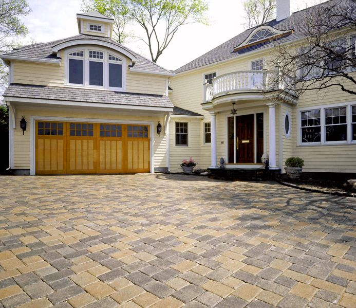 Aesthetic Paver Stone Cream gray and beige multi-color paver driveway to match the aesthetics of  this beautiful home #custom #pavers #outdou2026 | System Pavers Custom  Driveways ...