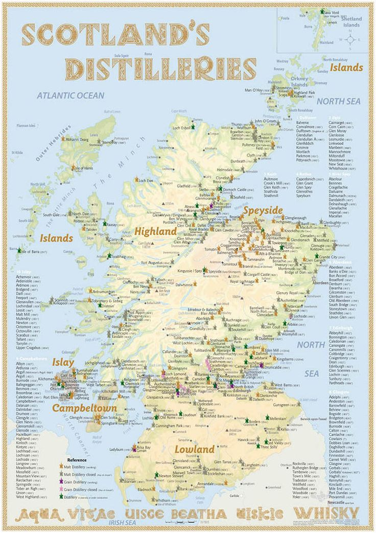 Scotland's Distilleries Map (NEW · 6th Edition 2016 · Poster) · with all Whisky Distilleries in Scotland · What's new in the map with 36 page booklet? 115 active Malt Distilleries (103 in 2013), 31 Malt Distilleries in planning or under construction (16 in 2013), 630 Lost Malt Distilleries; 7 Grain Whisky Disilleries; 25 Lost Grain Whisky Distilleries · ISBN 978-3-944148-27-4