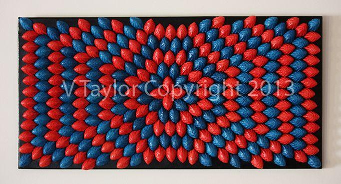 The Paperer Pulp to Sculpt Collection Colours: Blue & Red Artwork Size: 76cm x 40cm x 3.5cm