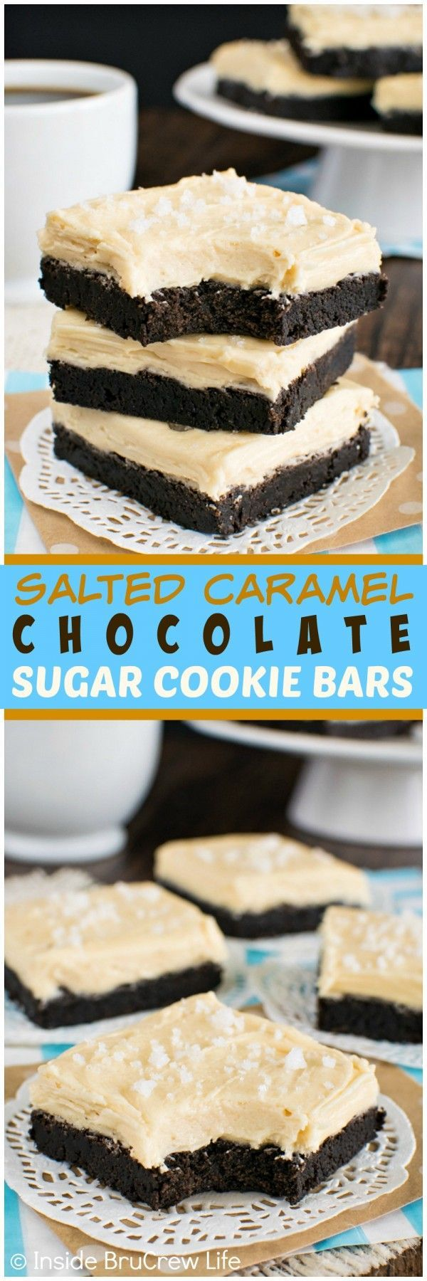 Salted Caramel Chocolate Sugar Cookie Bars - these soft chocolate cookies are baked and frosted in one pan!  Great easy dessert recipe!!! (Halloween Dessert Recipes)