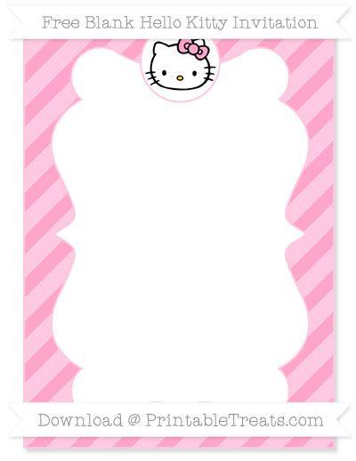 Free Carnation Pink Diagonal Striped Blank Hello Kitty Invitation