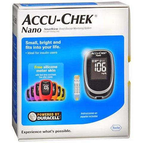 Accu-Chek Nano Glucose MeterSmall, bright and fits into your life. Advanced accuracy with ACCU-CHEK SmartView test strips as tested against a 23% tighter specification. Small, sleek design to fit in the palm of your hand. Brilliant back...
