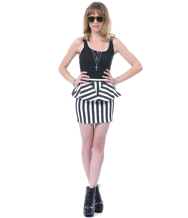Convertible Black & White Stripe Peplum Skirt - Unique Vintage - $48