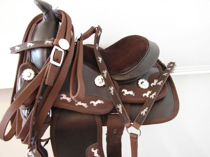 """12"""" 13"""" Running pony Brown Western Trail Kid Youth SYNTHETIC SADDLE Headstall BP #Generic"""
